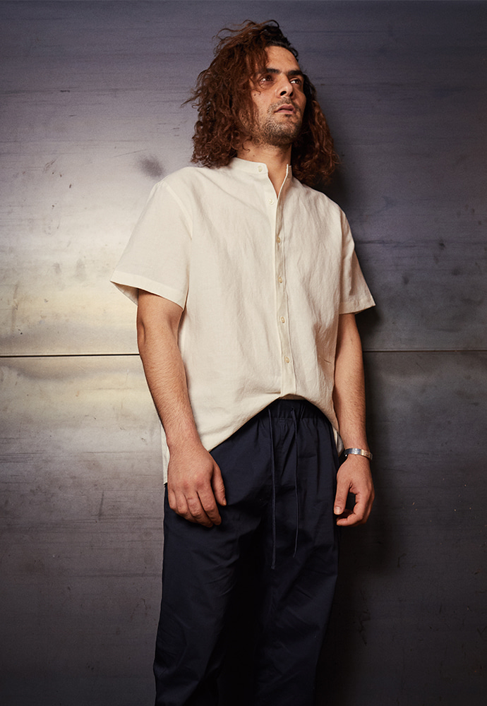 Minimal Grandad Collar Shirt_ White