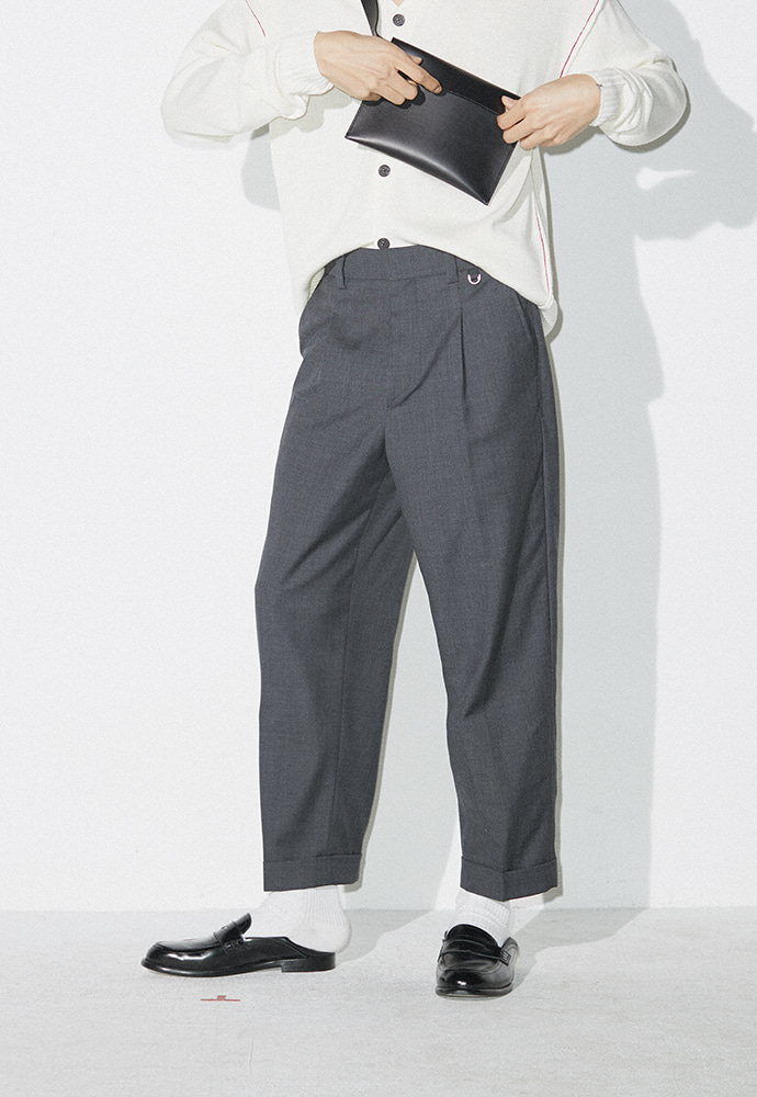 Crease Relaxed Trousers_ Grey