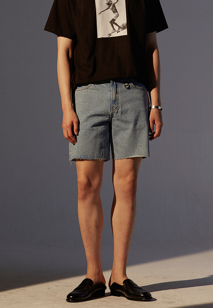Musk Cutting Denim Shorts_ Light Blue