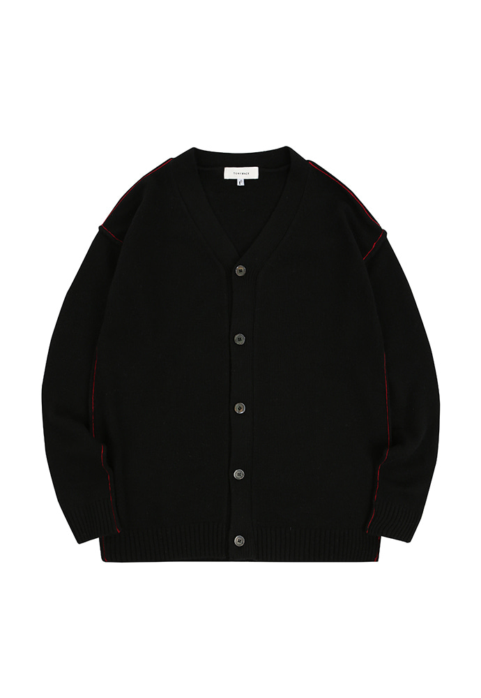 Contrasting Cashmere Cardigan_ Black&Red