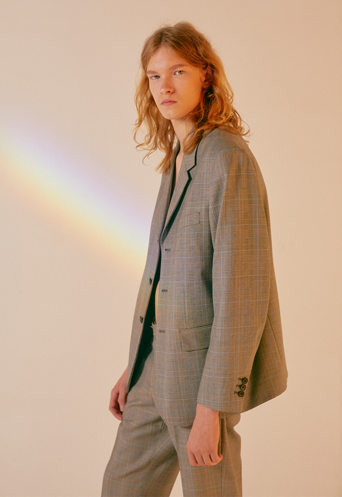 Crudo 3-button Single Blazer_ Grey Check