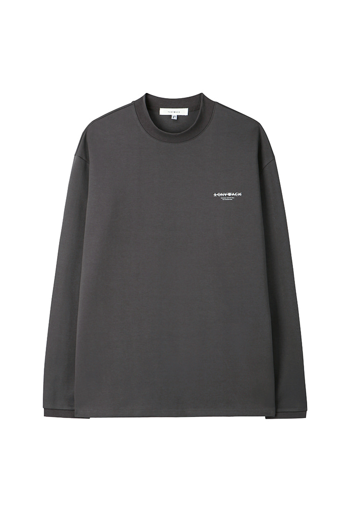 Dept. Stiff Mock-Neck Long Sleeve_ Charcoal