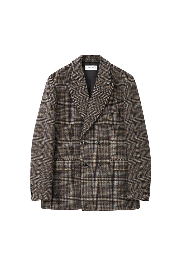 Archive Check Double Blazer_ Brown Glen-check