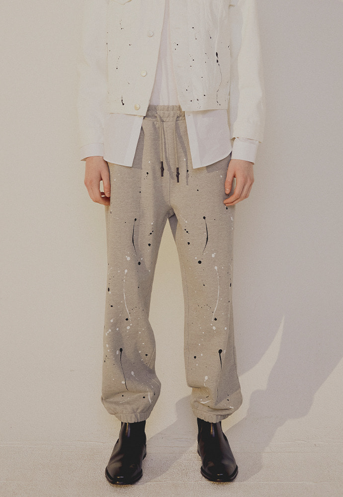 Stiff Heavy-Cotton Painting Sweatpants_ Grey