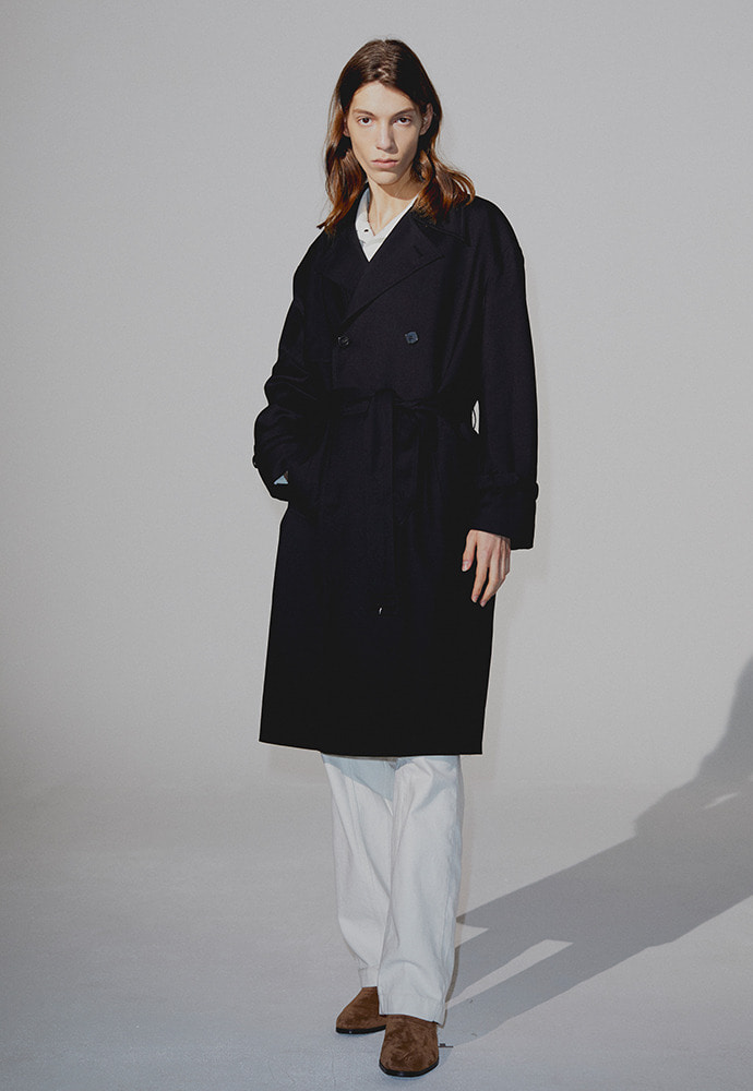 Ray Wool Trench Coat_ Black