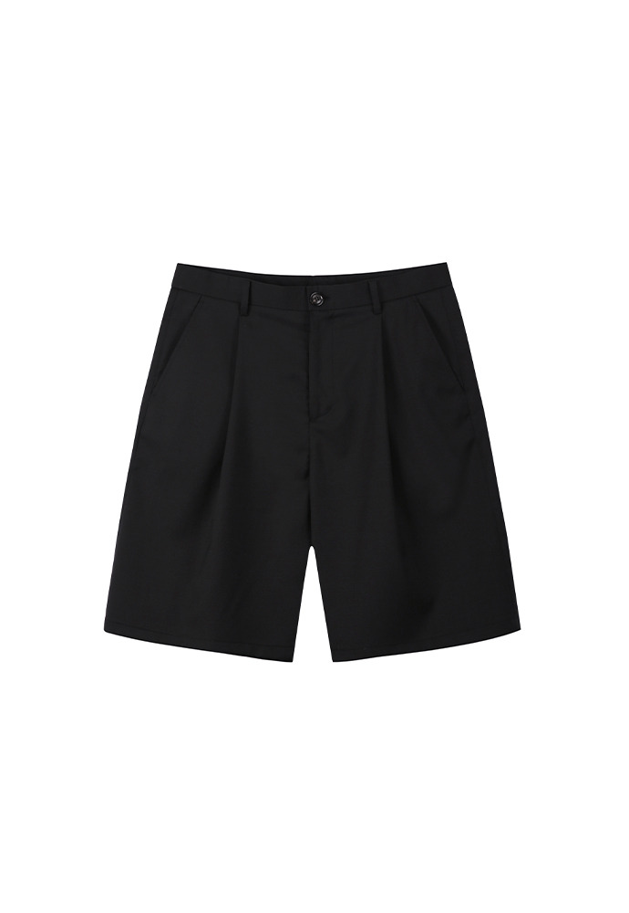 Row Pleated Wide Shorts_ Black