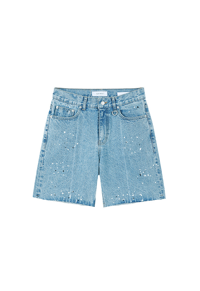 Core Painting Denim Shorts_ Light Blue Washing