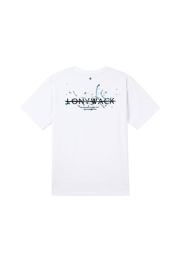 Paint Splatter Embroidery T-shirt_ White (sky blue+cream)