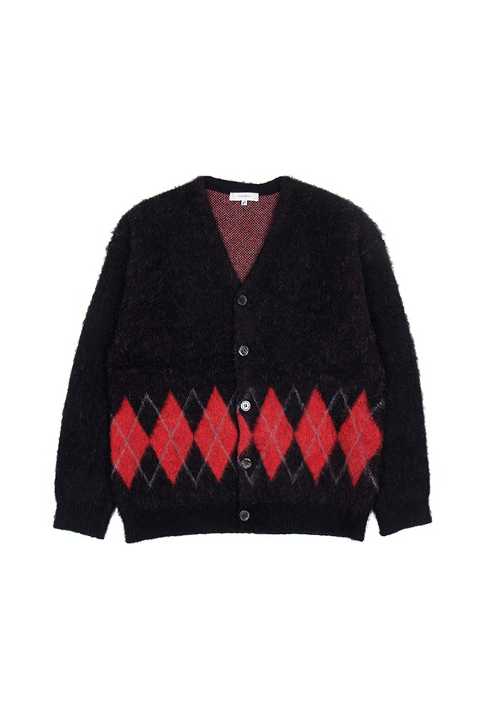 Stiff Mohair Cardigan_ Black&Red