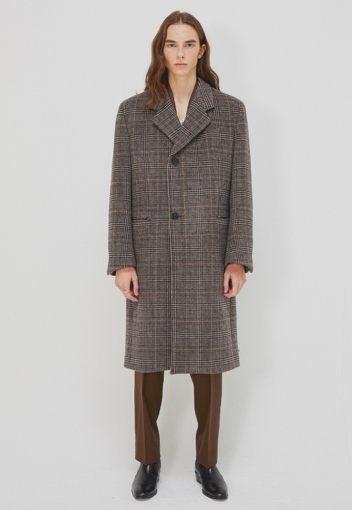 Sortie Cashmere Wrap Coat_ Brown Glen Check