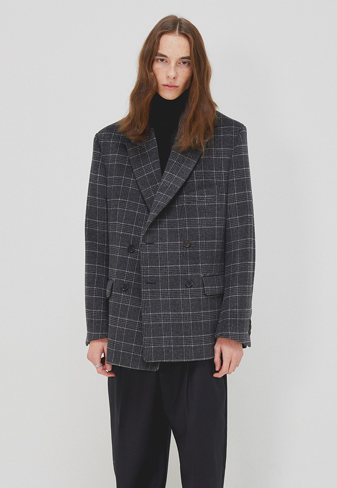 Rave Double Blazer_ Grey Check (Australia Wool Winter Fabric)