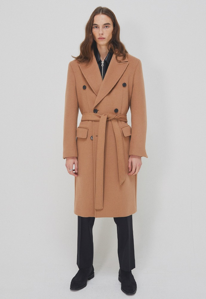 Crudo Cashmere Double Coat_ Camel