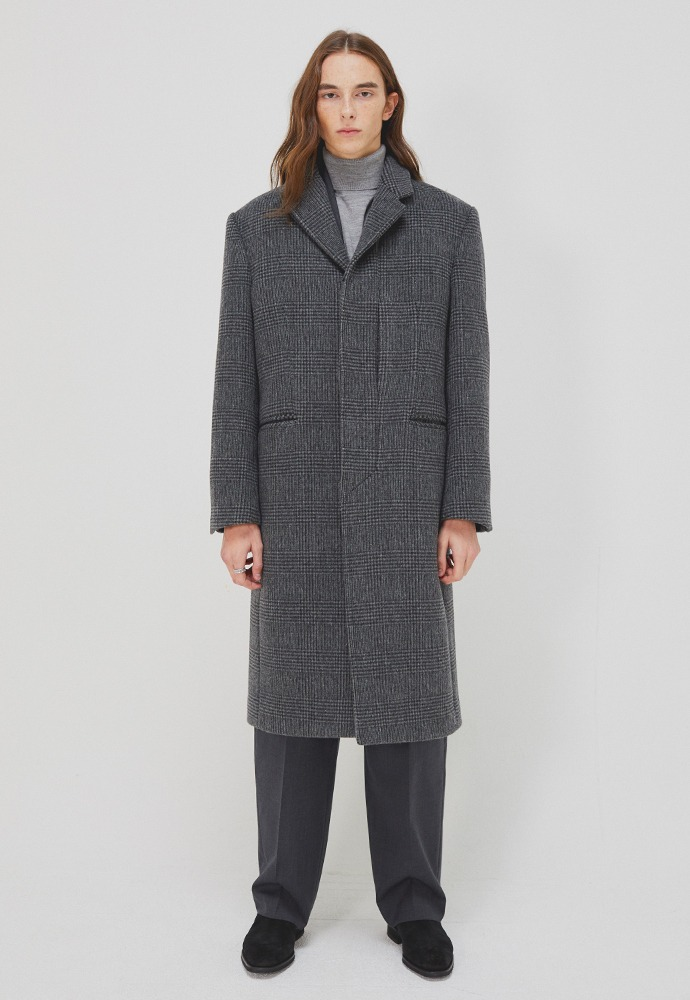 Crease Cashmere Line Pocket Coat_ Charcoal Check