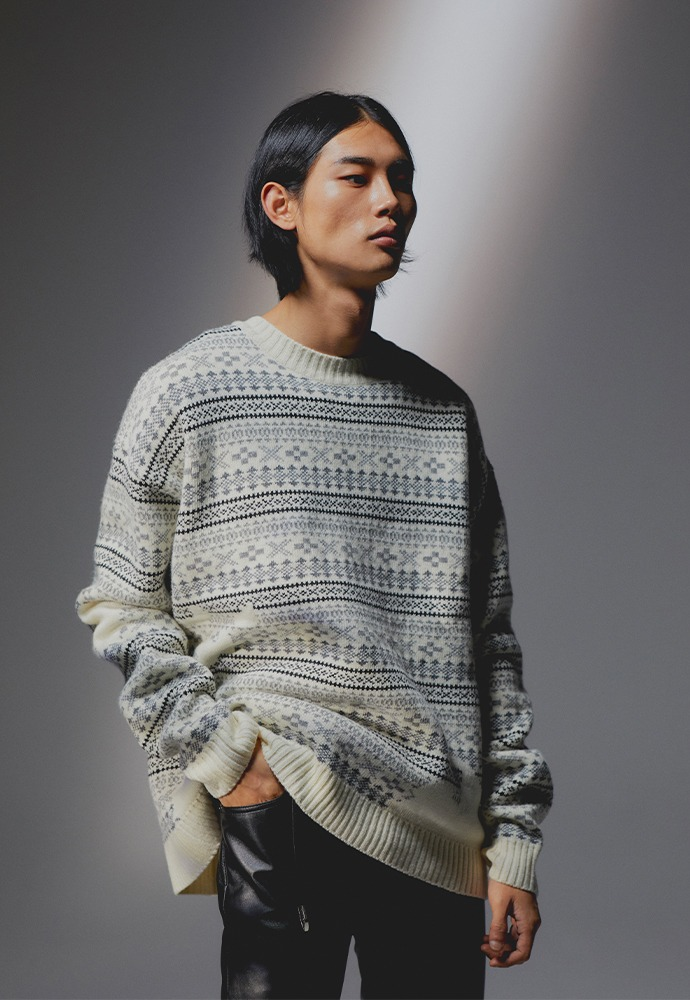 Flow Fair-isle Sweater_ Ecru