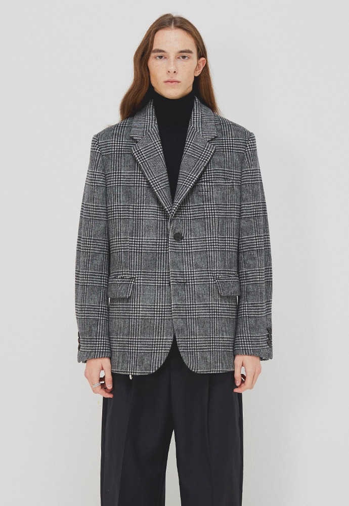 Archive Single Blazer_ Black & White Glen Check (Australia Wool Winter Fabric)