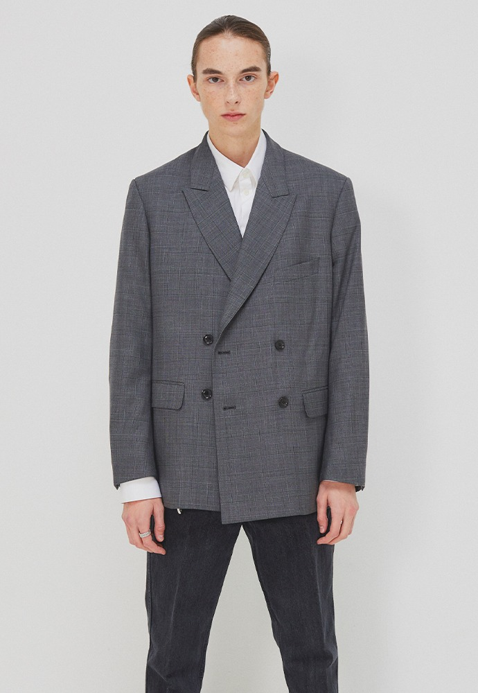 Essential Double-Breasted Blazer_ Mid Grey Check (Wool 100%)