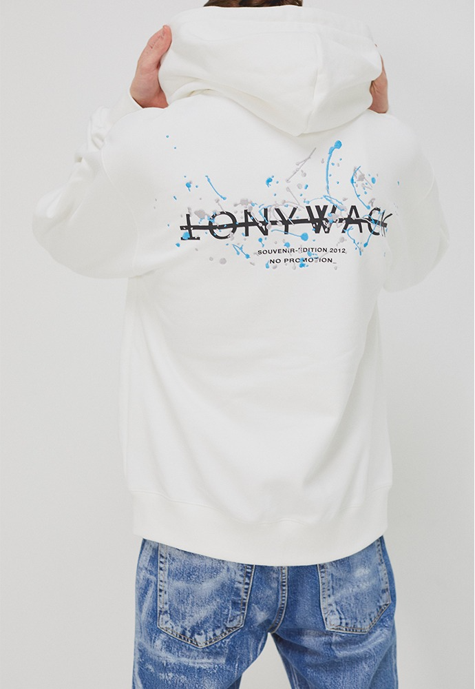 Paint Splatter Embroidery Hooded zip up_ Cream (light grey + sky blue)