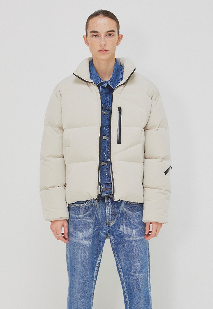 Signature Reversible Goose Down Jacket_ Ecru