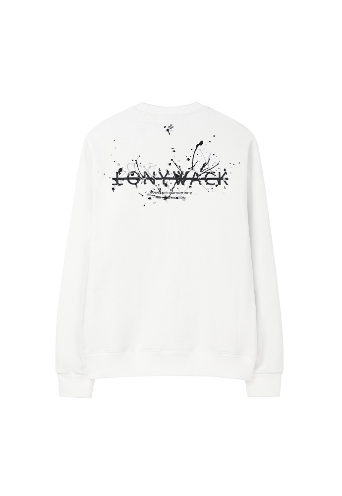 Paint Splatter Embroidery Sweatshirt_ Cream (grey+black)