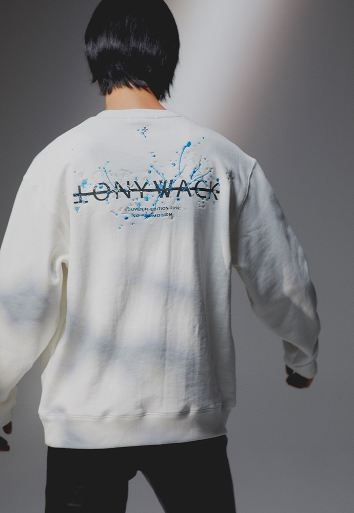 Paint Splatter Embroidery Sweatshirt_ Cream (cream+sky blue)