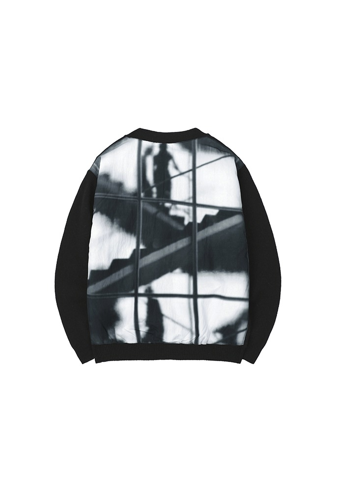 Reflection Patchwork Cardigan_ Black