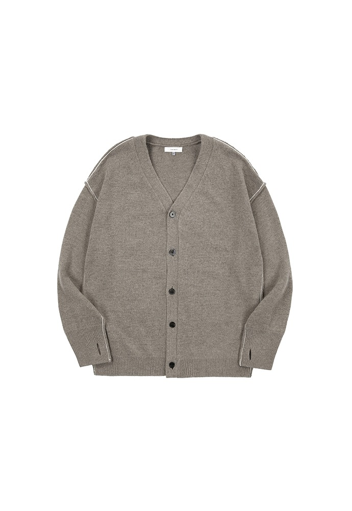 Contrasting Cashmere Cardigan_ Pale Brown