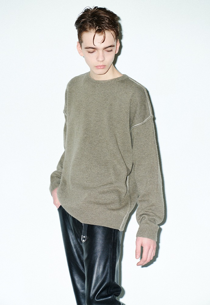 Contrasting Cashmere Sweater_ Olive Brown