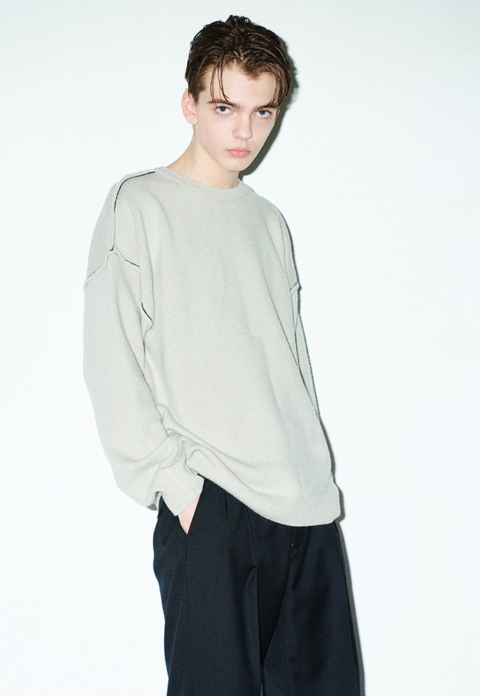 Contrasting Cashmere Sweater_ Arctic Grey