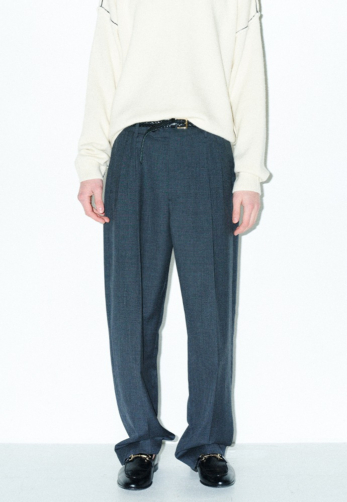 Row 2-Pleats Wide Leg Trousers_ Grey