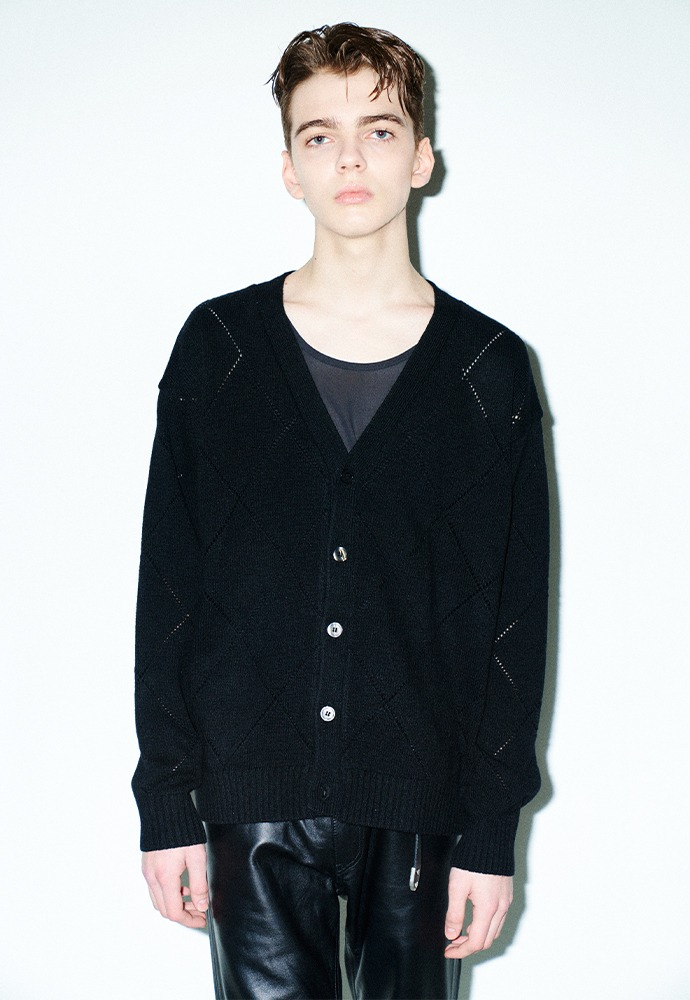 Slashed Argyle Cashmere Cardigan_ Black