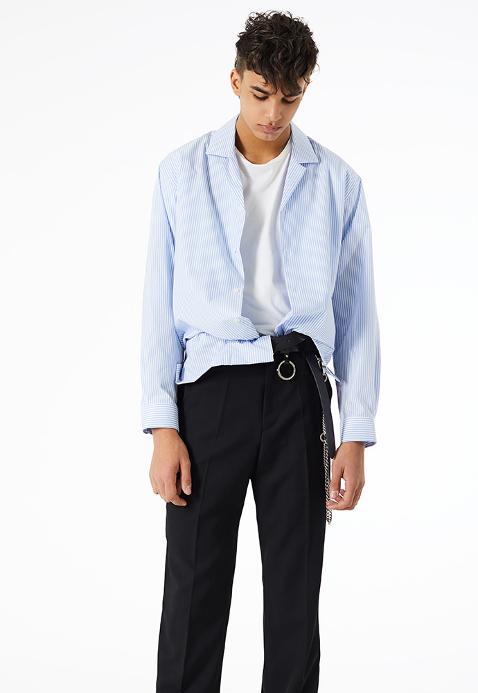 [송재림] Crudo Open Collar Shirt_ Light-blue Stripe