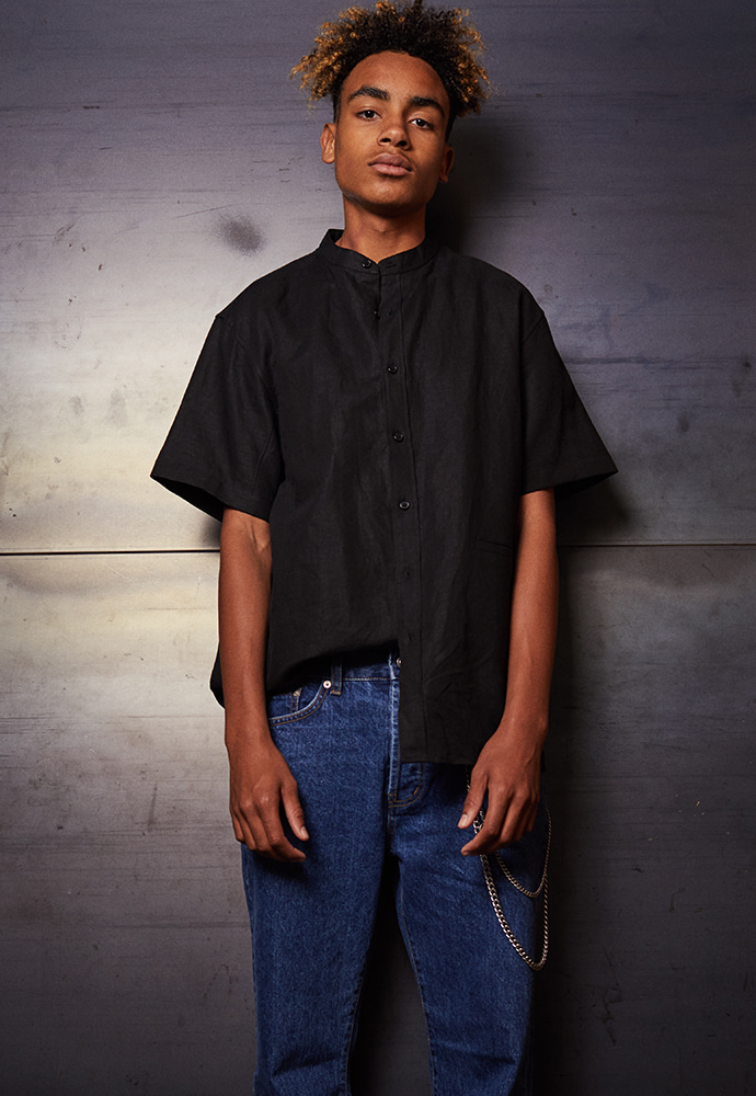 Minimal Grandad Collar Shirt_ Black