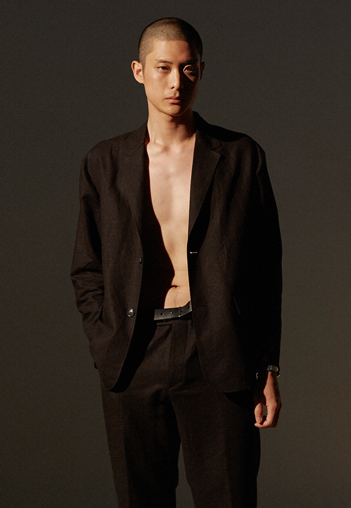 Louis Linen Blazer_ Black
