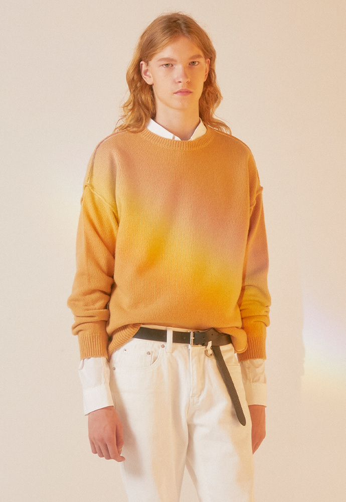 Contrasting Cashmere Sweater_ Beige
