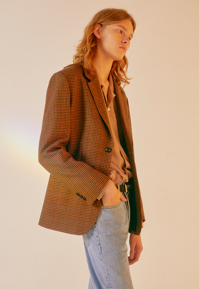 Signature 2-button Blazer_ Lux Brown Check