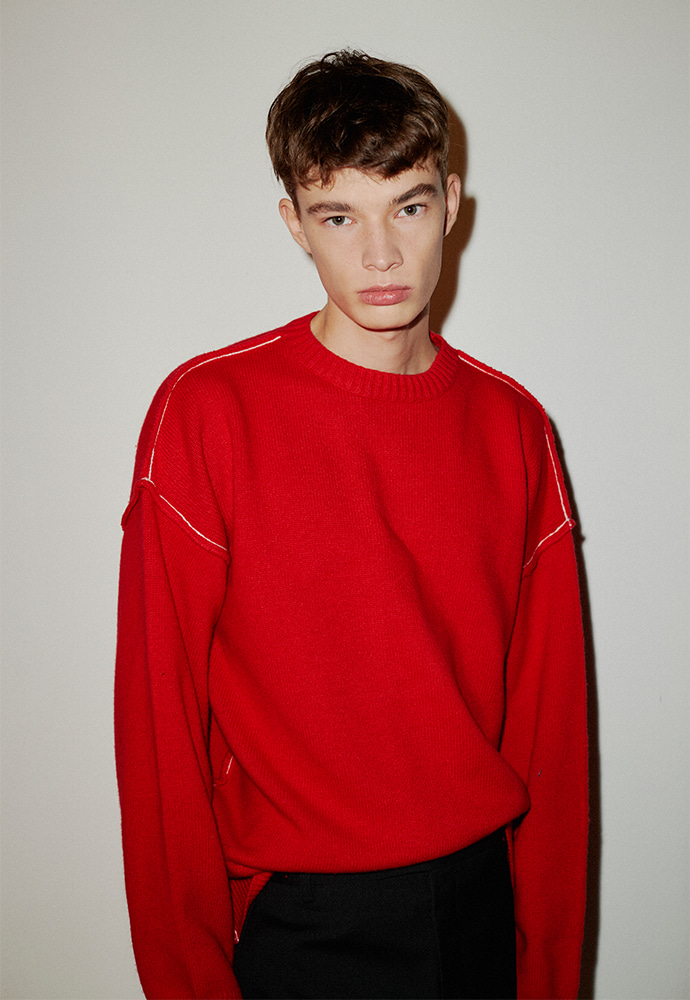 [남주혁 착용] Contrasting Cashmere Sweater_ Red