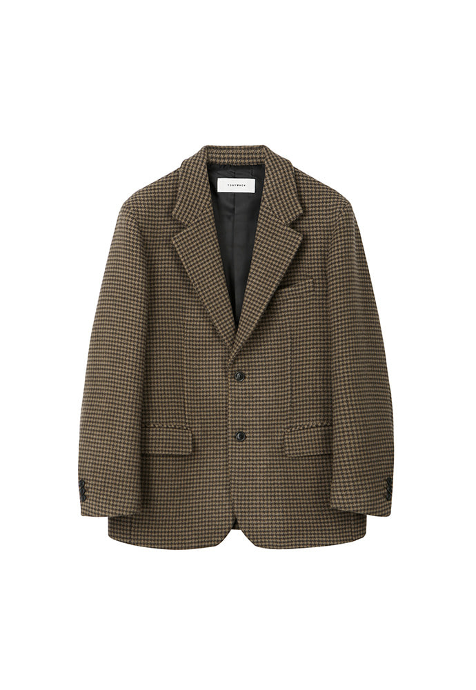 Archive Check Single Blazer_ Brown Houndtooth