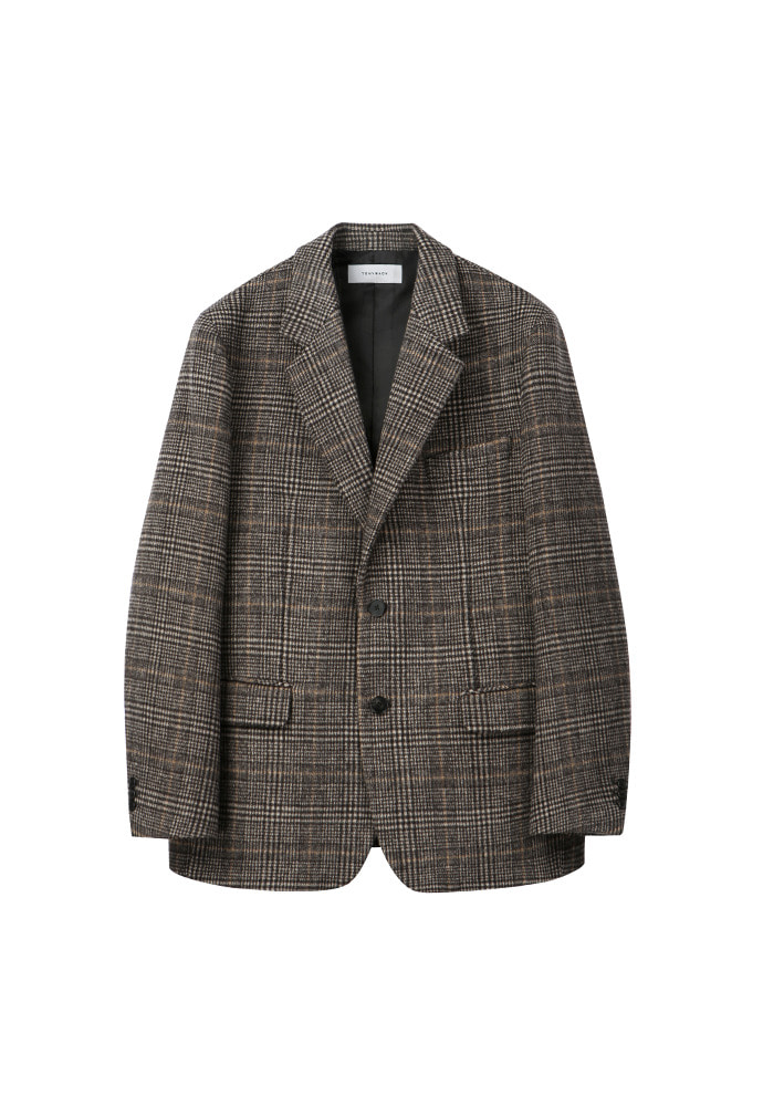 Archive Check Single Blazer_ Brown Glen Check