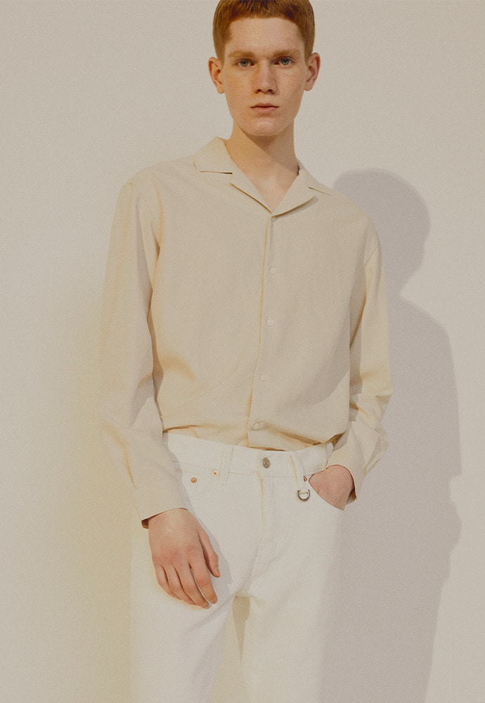 Saint Camp-Collar Tencel Shirt_ Light Beige