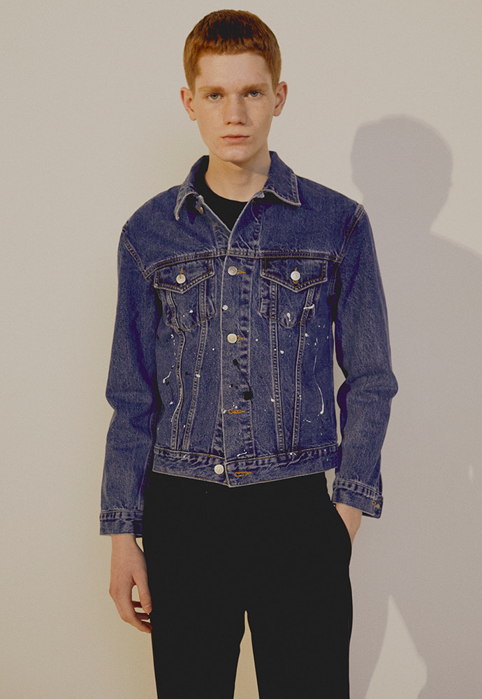 Musk Painting Denim Jacket_ Mid Blue