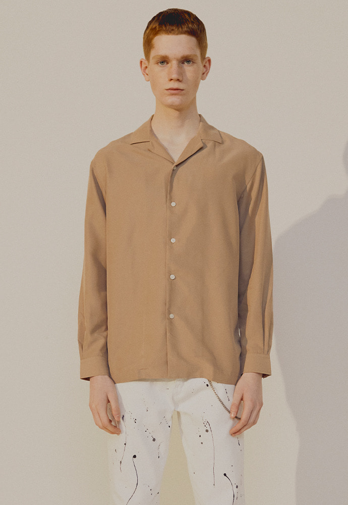 Saint Camp-Collar Tencel Shirt_ Beige