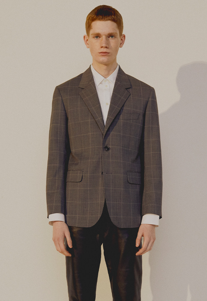 Signature 2-button Blazer_ Mid Grey Check