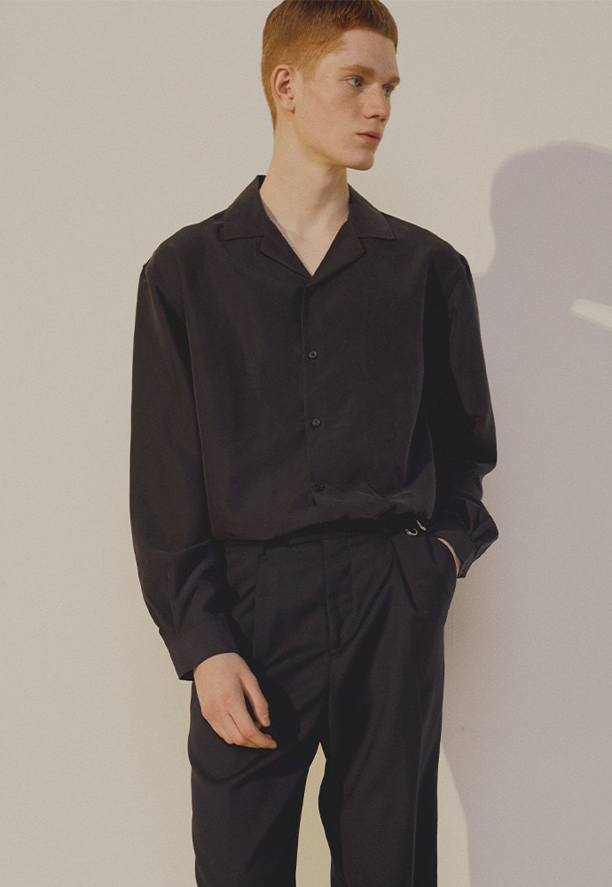 Saint Camp-Collar Tencel Shirt_ Black