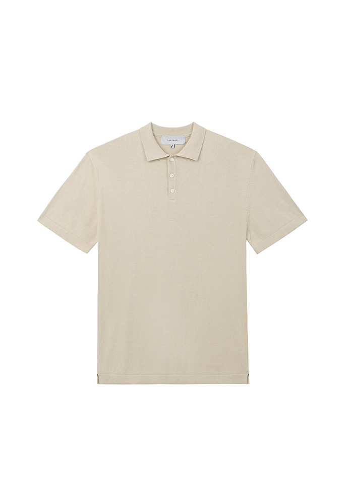 Saint Silk Polo Knit_ Light Beige