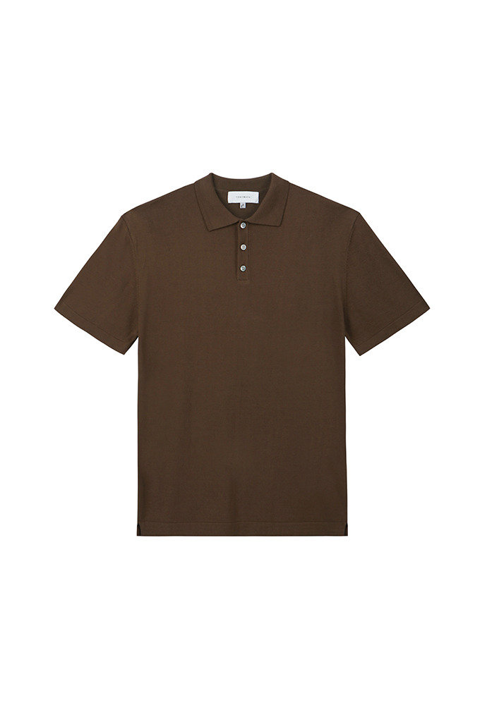 Saint Silk Polo Knit_ Dark Brown