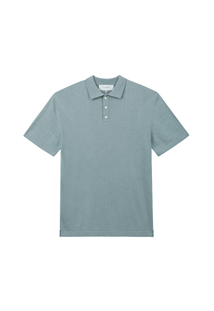 Saint Silk Polo Knit_ Blue Grey