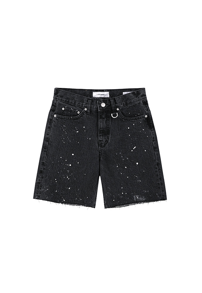 Core Painting Denim Shorts_ Black Washing