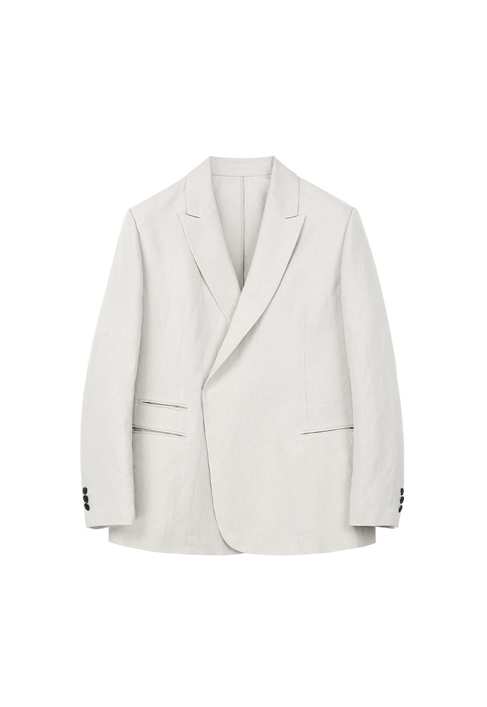Luke Half-double Unstructured Linen Blazer_ Cream Beige