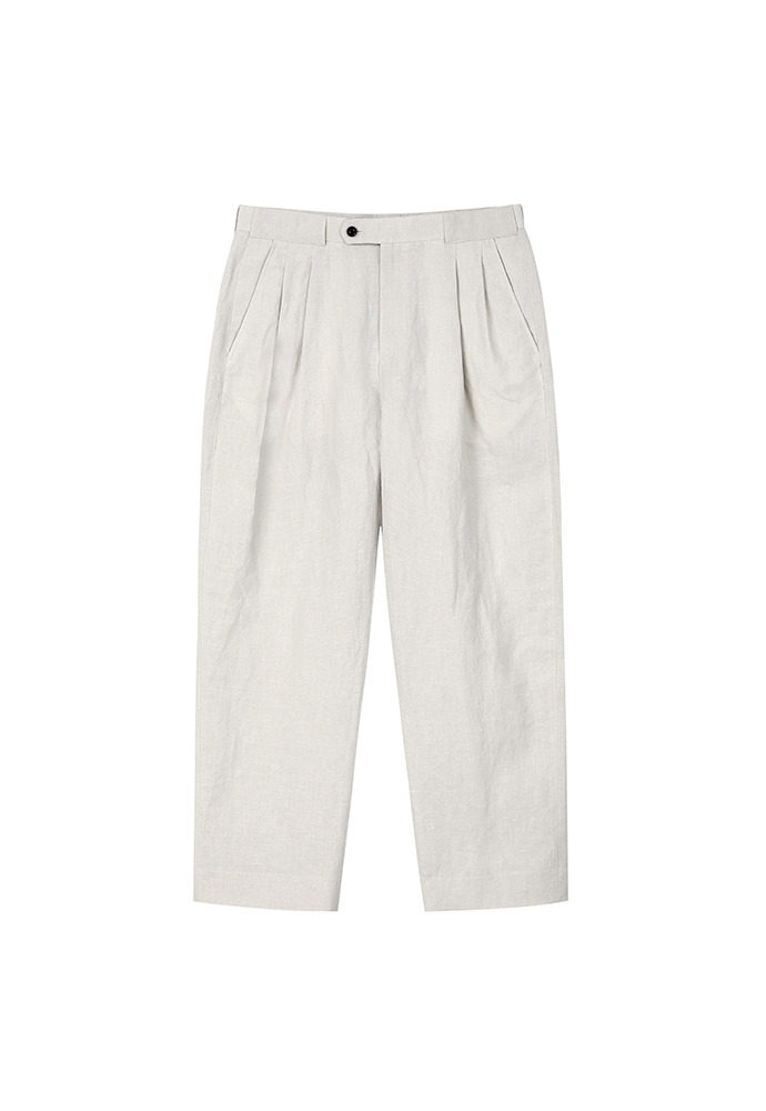 Luke Pleated Relax Linen Trousers_ Cream Beige