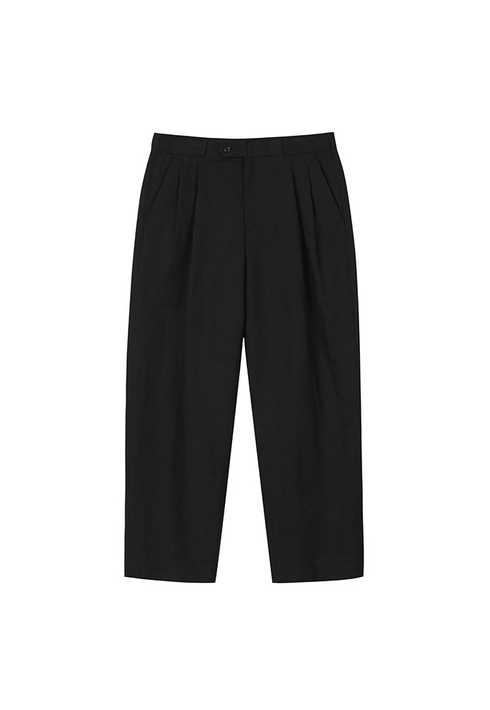 Luke Pleated Relax Linen Trousers_ Black